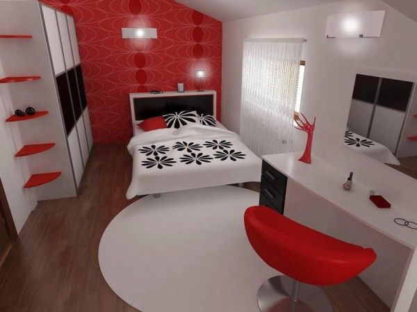 bedroom freshome 1 Inspiring Contemporary Bedroom in Red, Black and White