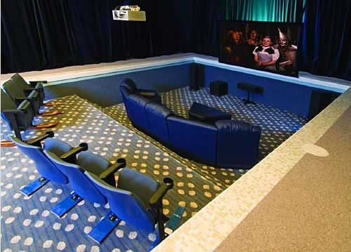 Indoor Pool Transformed into a Home Theater