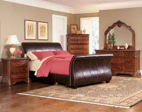 King Queen Sleigh Faux Leather Bed