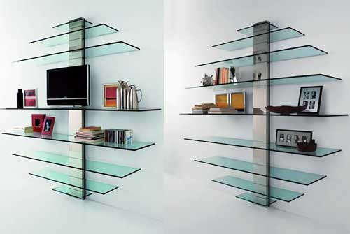 glass bookshelves. The glass shelves are designed