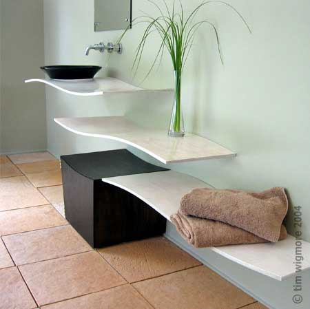 Bathroom Wave Shelving