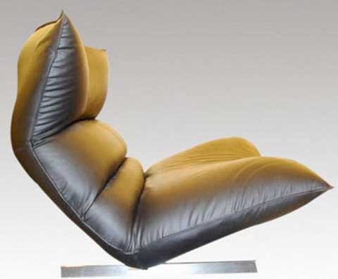 Leather Lounge Chair by Vittorio Varo