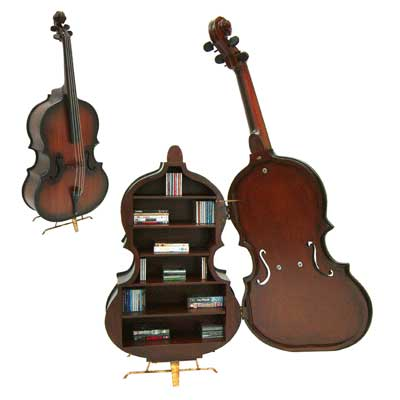 Contrabass Shaped Storage Cabinet