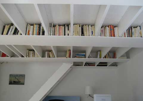 Ceiling bookshelves