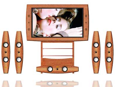 Wood LCD HDTV Surround Sound Entertainment from Swedx