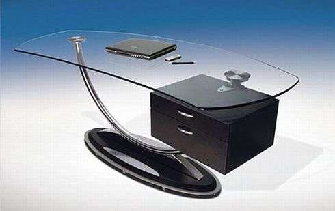 modern glass desk design