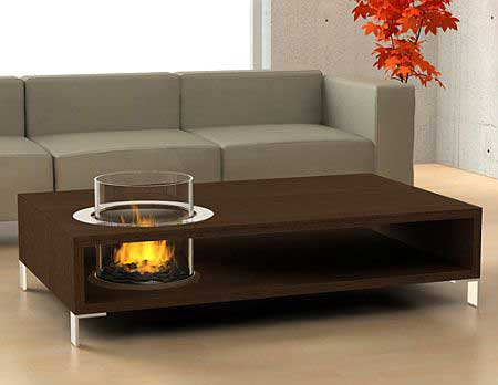 Coffee Table With An Eco Friendly Fireplace