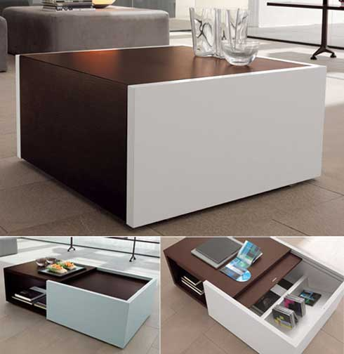Low Table with Hidden Storage Space