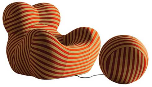 Up5 Chair and its Ball-Shaped Ottoman