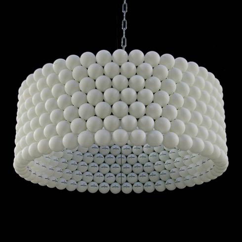Lamp Made from 315 Table Tennis Balls