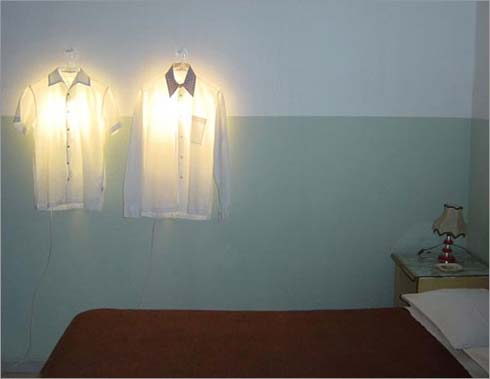 Clothes Hanger Lamp by Hector Serrano