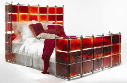 bed water tank Unique Bedroom Idea Using Stained Glass and  Stainless Steel