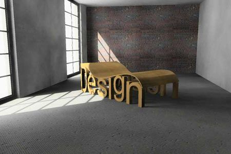 """Chaise Lounge Uses the Word """"Design"""" as Legs"""