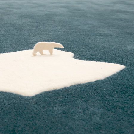 Global Warming Polar Bear Rug
