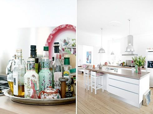 danish white kitchen Adding Colorful Accents into a White Danish  Home