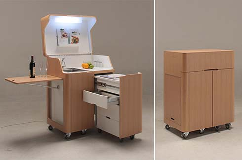 kenchikukagu mobile kitchen Space Saving Furniture : Kenchikukagu