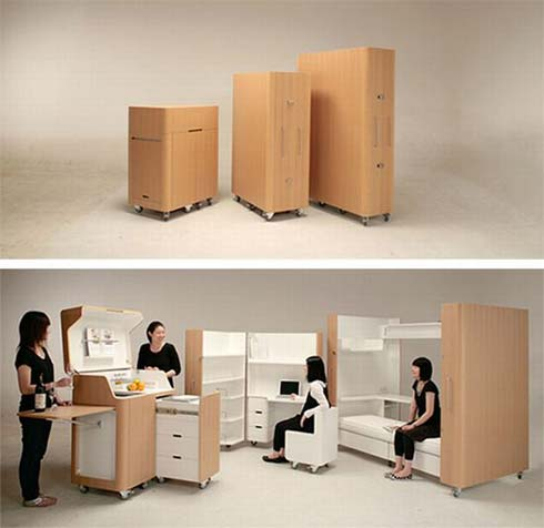 mobile furniture Space Saving Furniture : Kenchikukagu