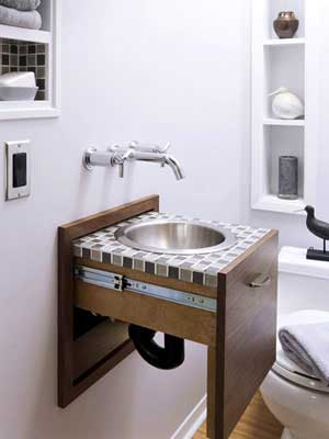 Make a Small Bath Look Larger with  A Sink In A Drawer