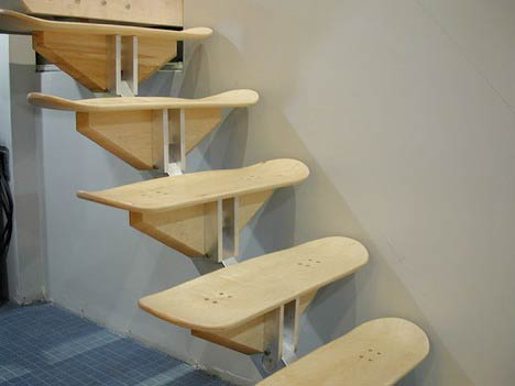 skateboard stair Stairs Made From Skateboard Decks