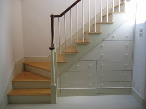Beautiful and Practical Under Stair Drawer System