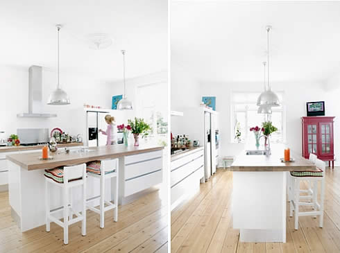 white danish kitchen Adding Colorful Accents into a White Danish  Home