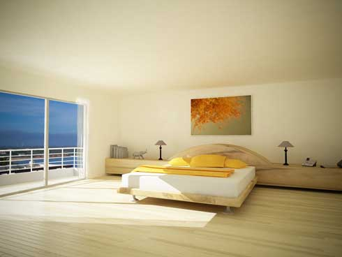 Soft Yellow Modern and  Minimalist Bedroom  Interior design