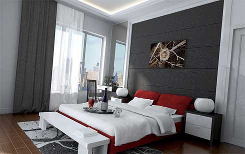Elegant-bedroom-with-white-black-night-stands-white-red-pi llows-white