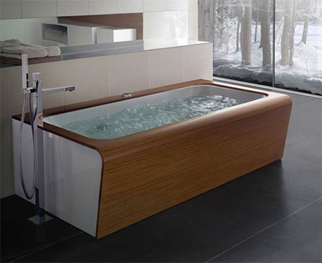 Bathtubs with a Beautiful Wooden Finish
