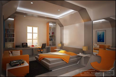 Modern Bedroom Interior Design Ideas orange