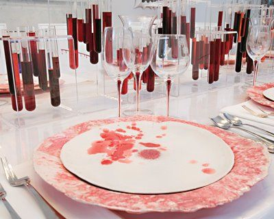 Dining room blood splatter decor designed by Amy Lau1