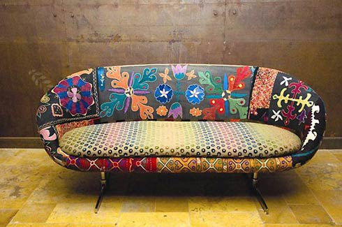 Colored Upholstered Vintage Furniture by Bokja