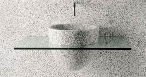 Pebbles + Transparent Glass in Your Bathroom : Stone Drops Feeling