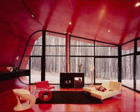 Modern red space interior design inspiration