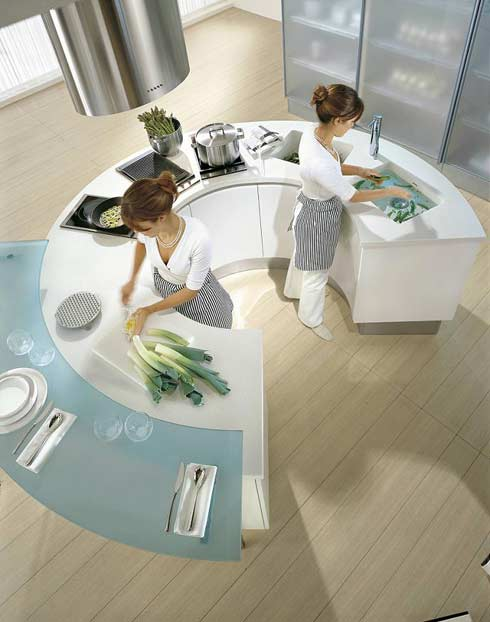 pedini integra round kitchen4 Round Modern Kitchen Countetops from Pedini