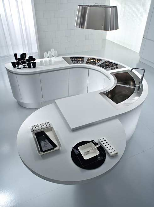 pedini integra round kitchen7 Round Modern Kitchen Countetops from Pedini