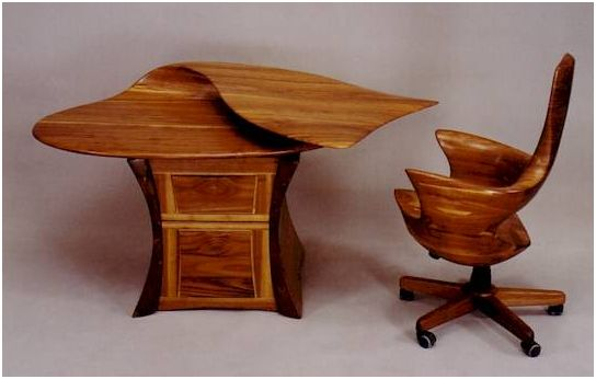 sculptured wood desk and chair Sculptured Art Furniture
