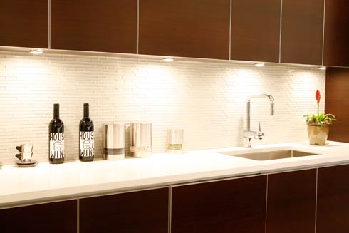 kitchen renovations using white glass tiles