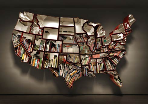 Bookshelf inspired by the map of United States of America