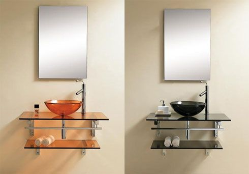 bathroom glass vanity2 Contemporary Vanities   Solace Bathroom  Vanity