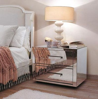 Drawers and Bedside Tables Covered with Mirrors