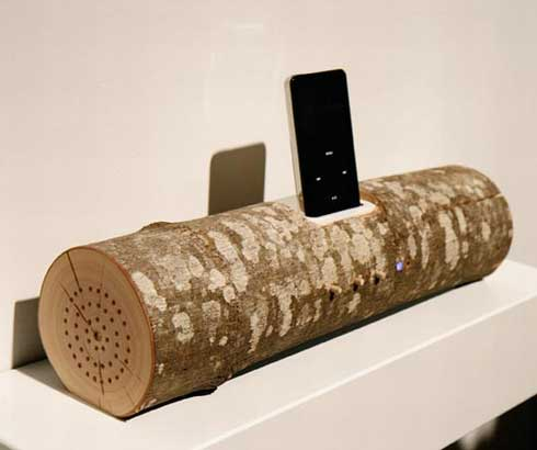 Ecofriendly iPod dock made from salvaged materials