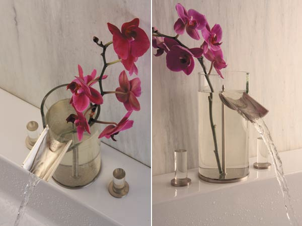 flower faucet Bathroom Faucet & Flower Vase Design in One Product
