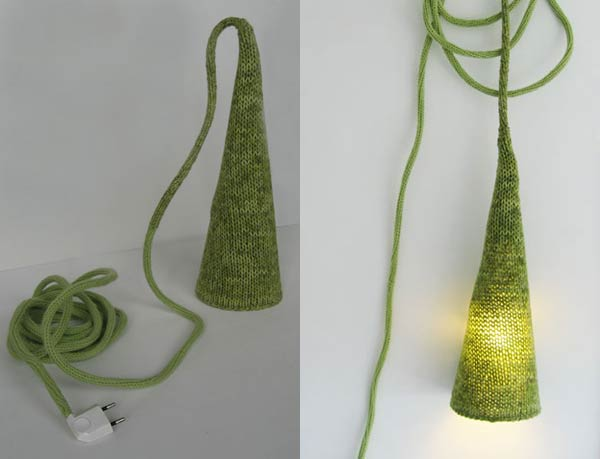 knitted by hand lamp1 Hand Knitted Lamp by Philippe Tyberghien