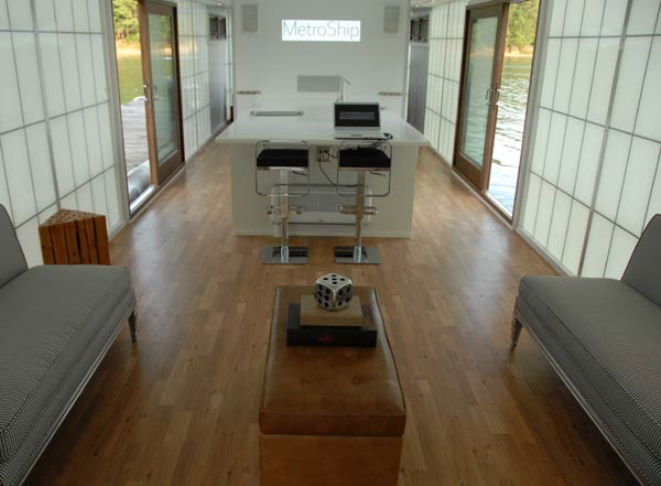 3 metroship daytime interior Contemporary Luxury Houseboat with a Loft Style Interior