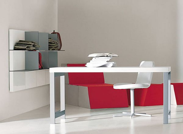 Domino Working Desk and Forma Suspended Desk, from Pianca