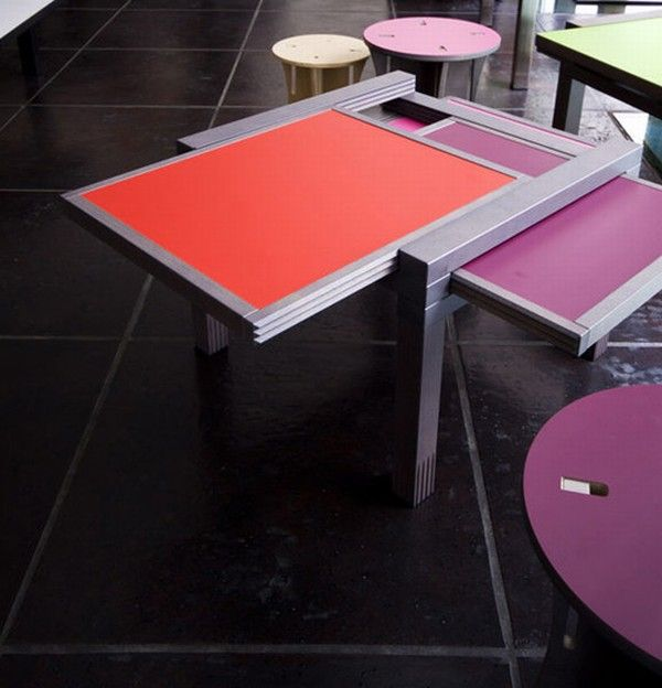 Cool expandable coffee and dining tables by Sculrtures jeux 12  Interesting Expansible Coffee Tables