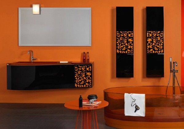 Colorful Bathroom Vanity Orange Orange Bathroom Design