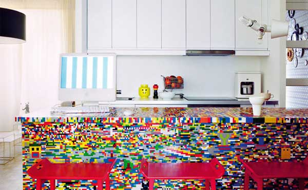 legokitchen Fancy LEGO collored modern kitchen island