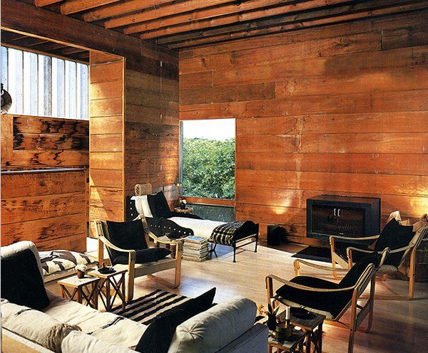 wooden living room walls
