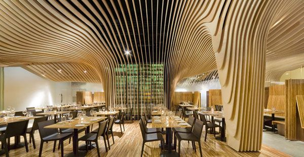 BANQ restaurant by Office dA photos by John Horner Fresh Restaurant Design Displaying Bold Natural Colours and Fun Forest Graphics